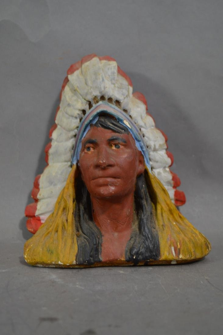"8.5"" CIGAR STORE CHALKWARE INDIAN BUST"