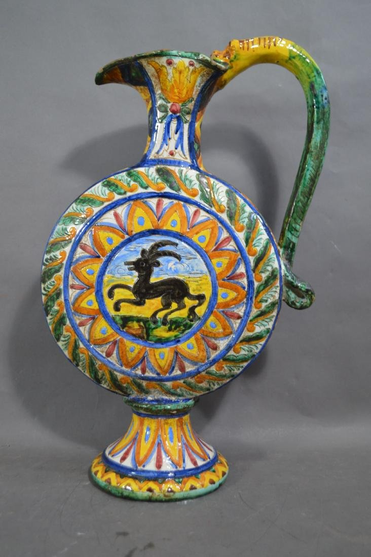 "20"" TALL SIGNED ITALIAN MAJOLICA MOON SHAPED WINE"