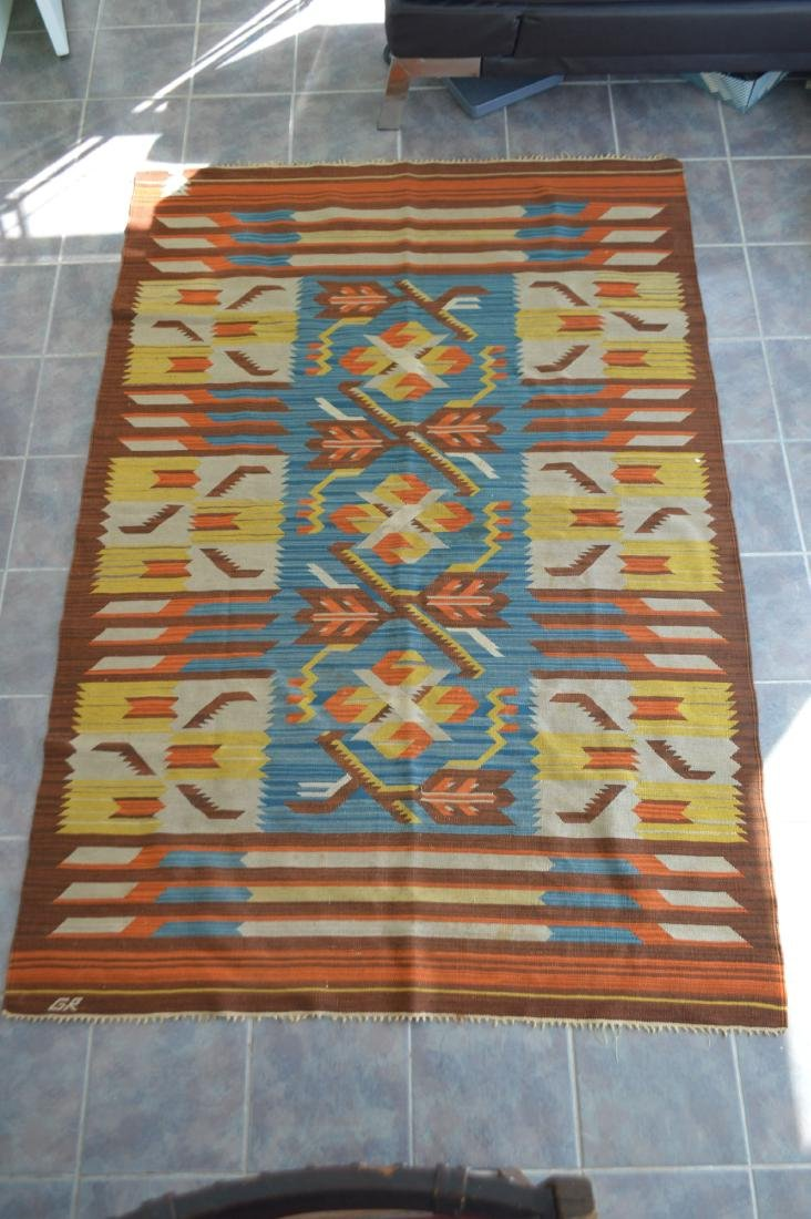 "LARGE NATIVE AMERICAN RUG MARKED GR IN CORNER 88"" X 54"""