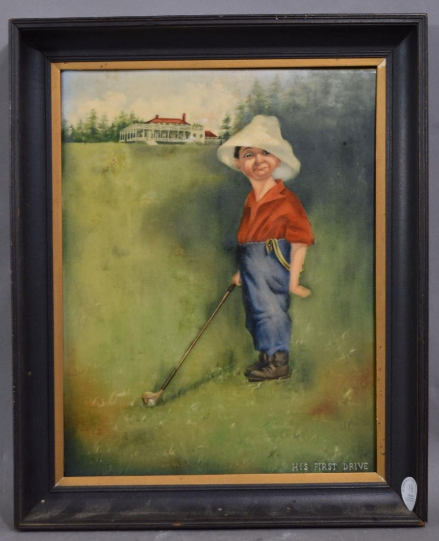 "LARGE SIGNED 1873  HP PORCELAIN PLAQUE  GOLF ""HIS FIRST"