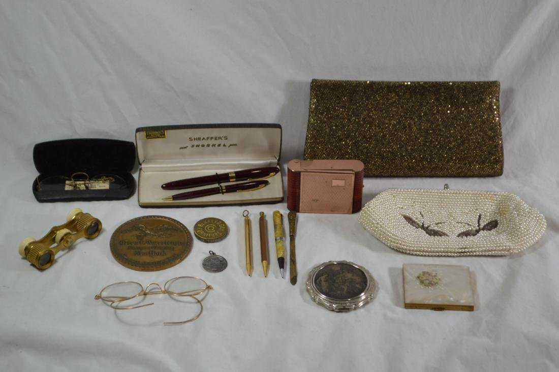 OPERA GLASSES,SCHAEFFER PEN SET, VINTAGE SPECTACLES AND