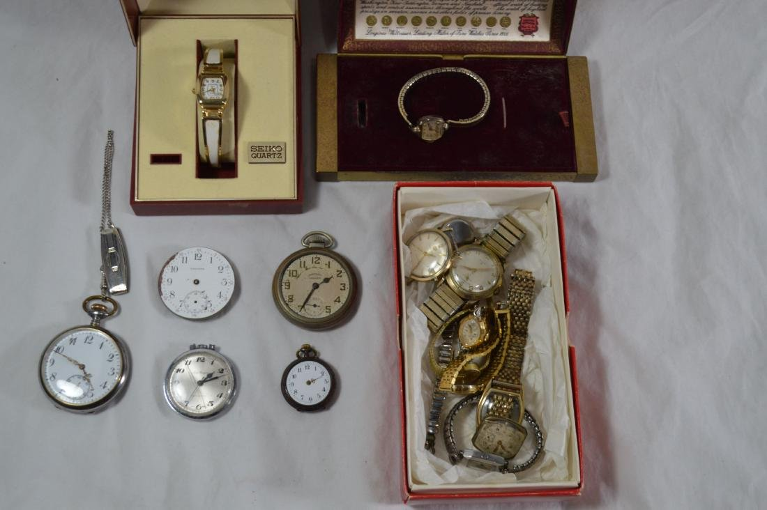 9 VINTAGE WRIST WATCHES AND 5 VINTAGE POCKET WATCHES