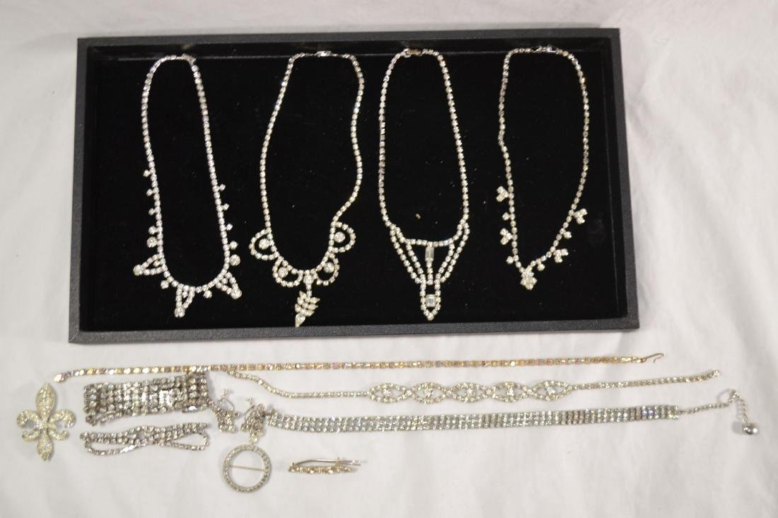 LARGE LOT OF VINTAGE RHINESTONE NECKLACES