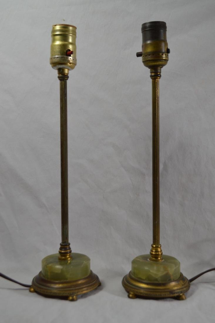 PAIR OF 22K GOLD PLATED BS&CO ALABASTER CANDLESTICK