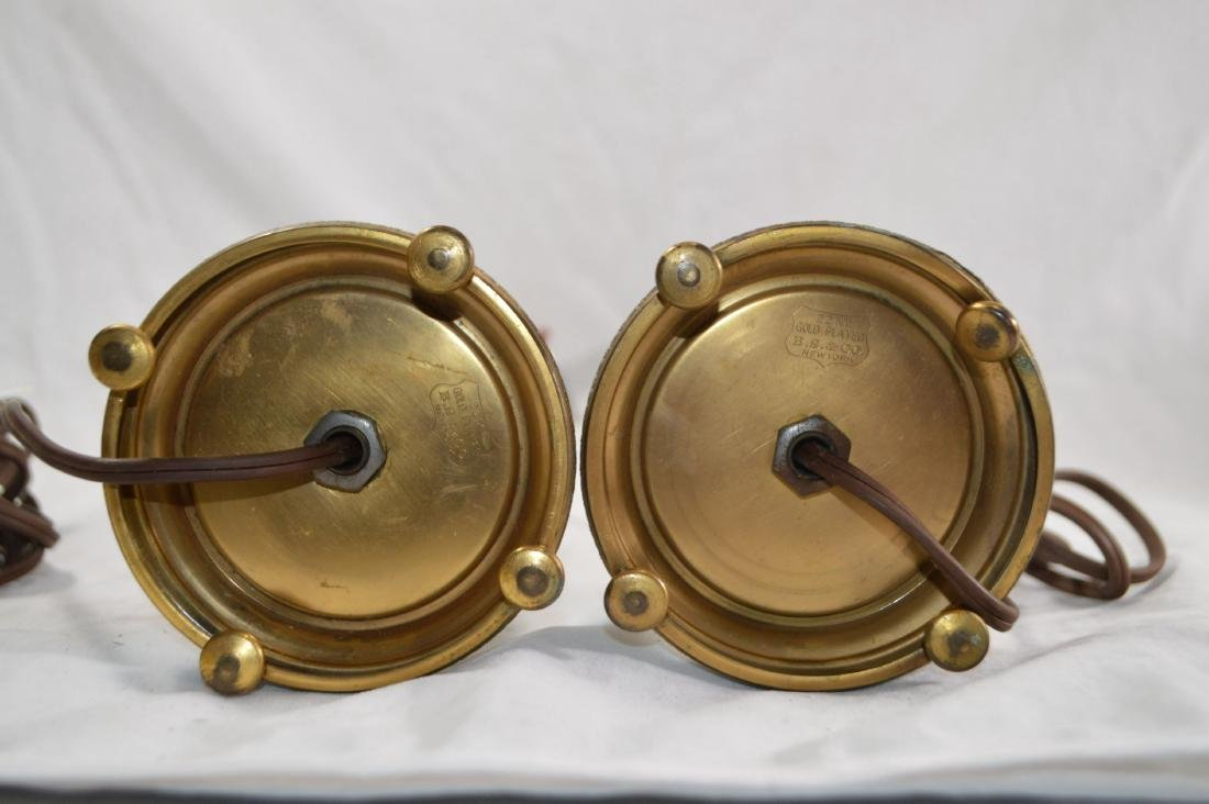 PAIR OF 22K GOLD PLATED BS&CO ALABASTER CANDLESTICK - 2