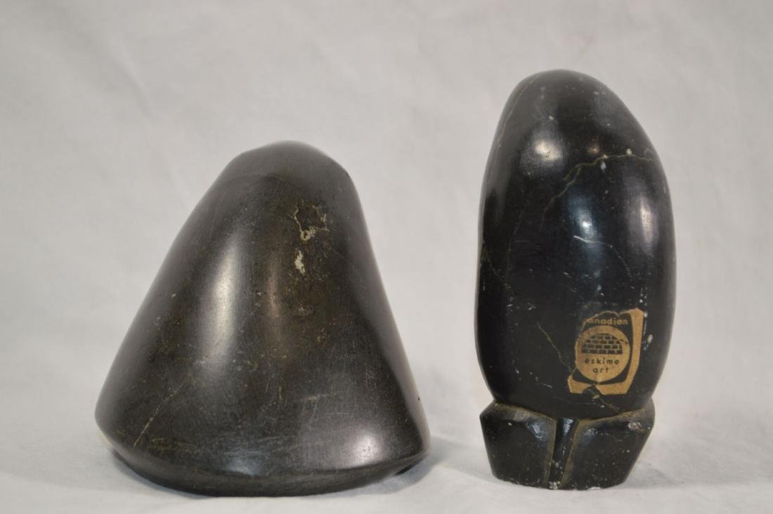 2 SIGNED INNUIT STONE CARVINGS , A SEAL AND A WALRUS - 2