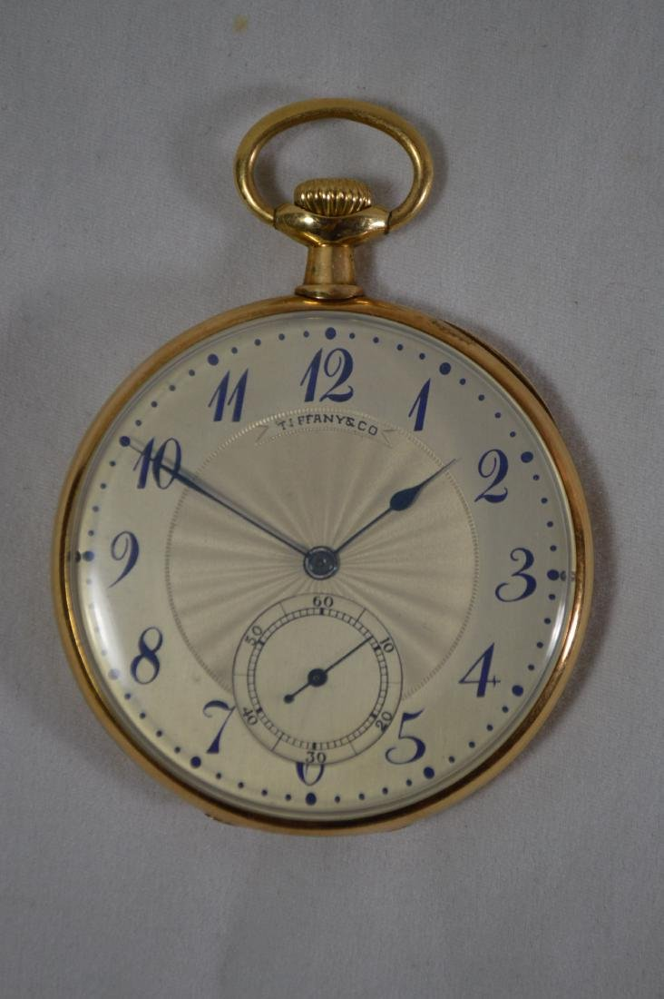 18K GOLD 1920'S TIFFANY OPEN FACED MENS POCKET WATCH