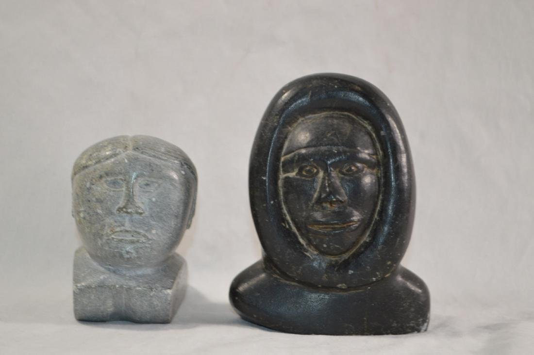 2 EARLY INNUIT STONE CARVINGS , ONE SIGNED ON BASE