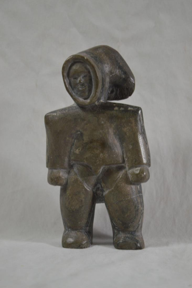 EARLY INNUIT STONE CARVING OF A STANDING MAN