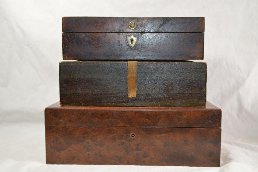 BURLED WALNUT LAP DESK , ANTIQUE CANDLE BOX IN RED