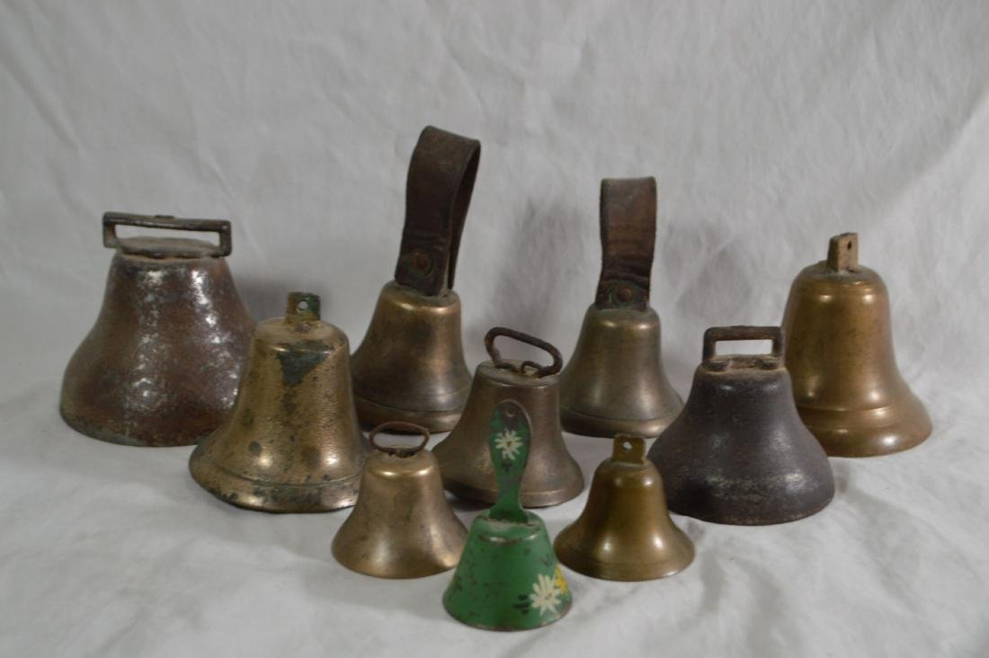 LOT OF 10 ANTIQUE BRASS AND BRONZE BELLS