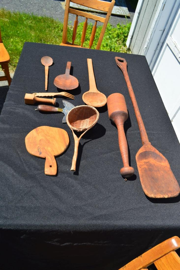 LOT OF ANTIQUE WOODENWARE/TREENWARE KITCHEN ITEMS - 2