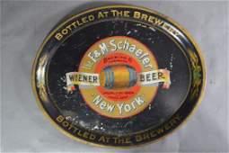 RARE WIENER BEER 19TH CENTURY OVAL TOLEWARE TRAY F.A.