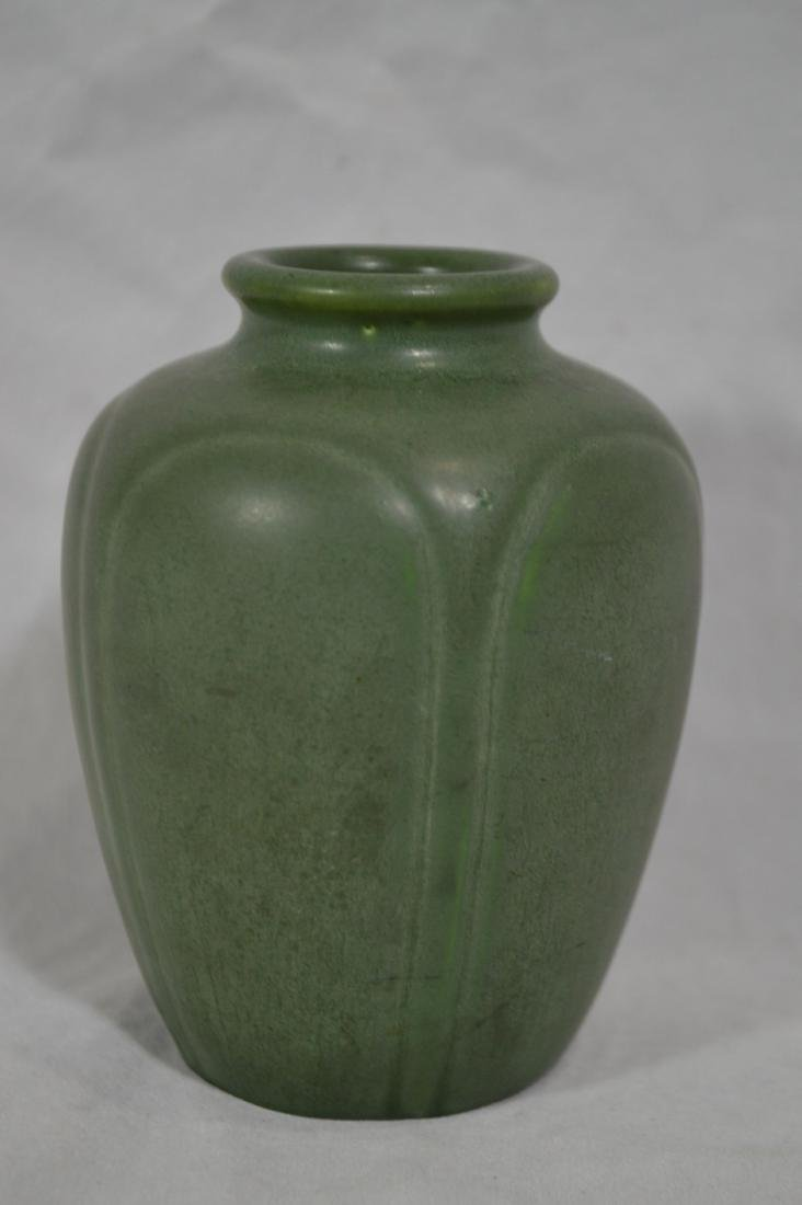 """4 3/4"""" HAMPSHIRE POTTERY, GREEN MATTE ARTS AND CRAFTS"""