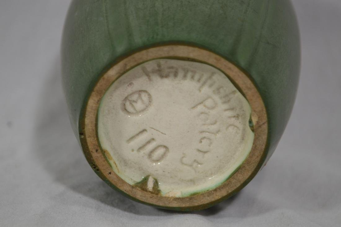 """4 3/4"""" HAMPSHIRE POTTERY, GREEN MATTE ARTS AND CRAFTS - 3"""