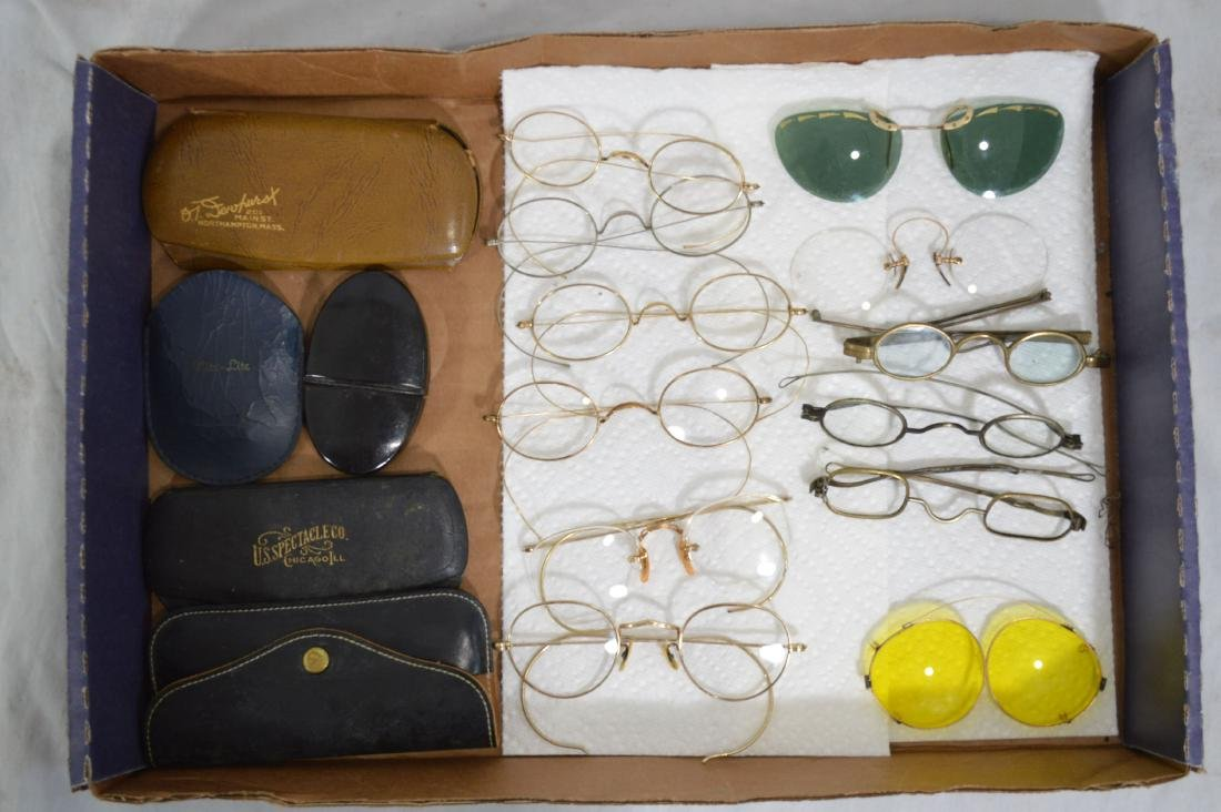 "9 PAIRS OF ANTIQUE SPECTACLES. 5"" AND SMALLER"
