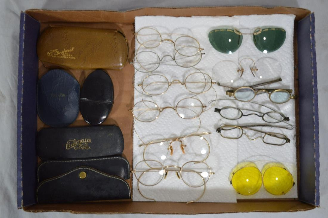 "9 PAIRS OF ANTIQUE SPECTACLES. 5"" AND SMALLER - 2"