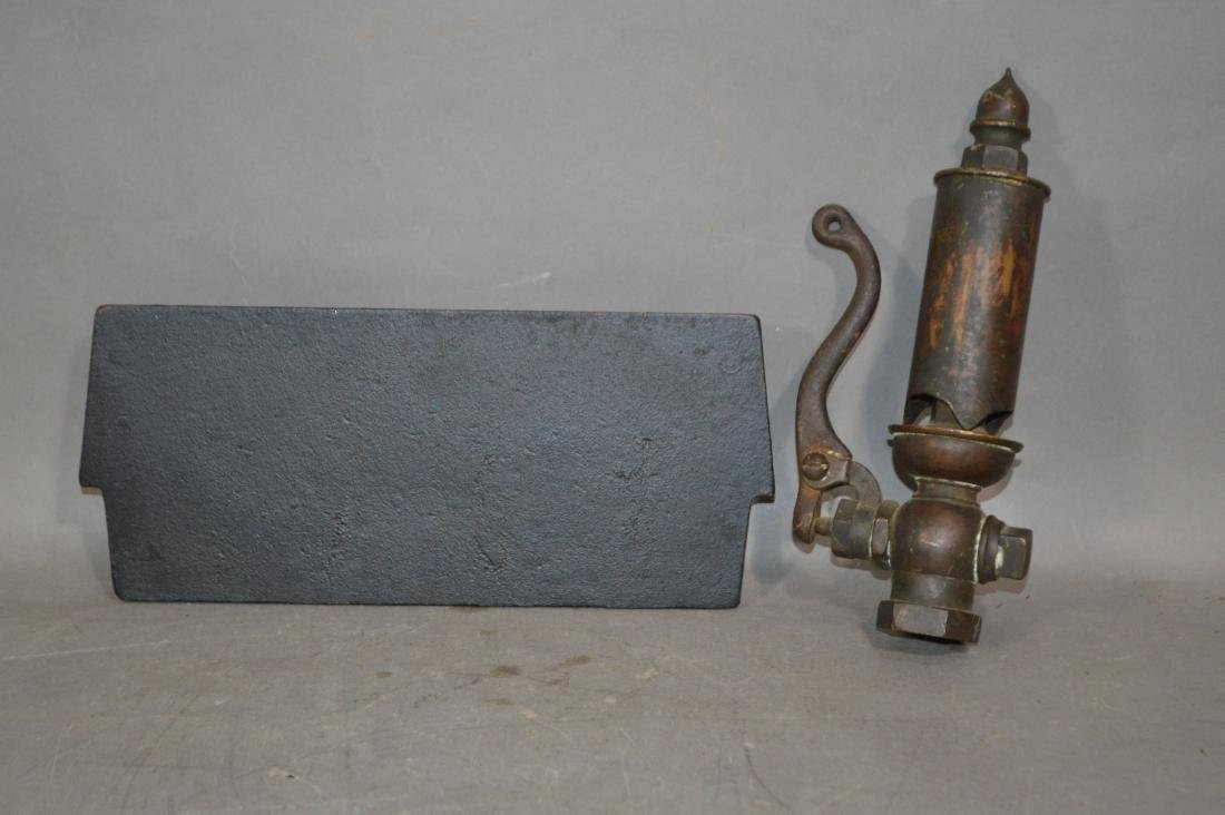 19TH CENTURY BRONZE STEAM WHISTLE WITH A CASTE IRON - 2
