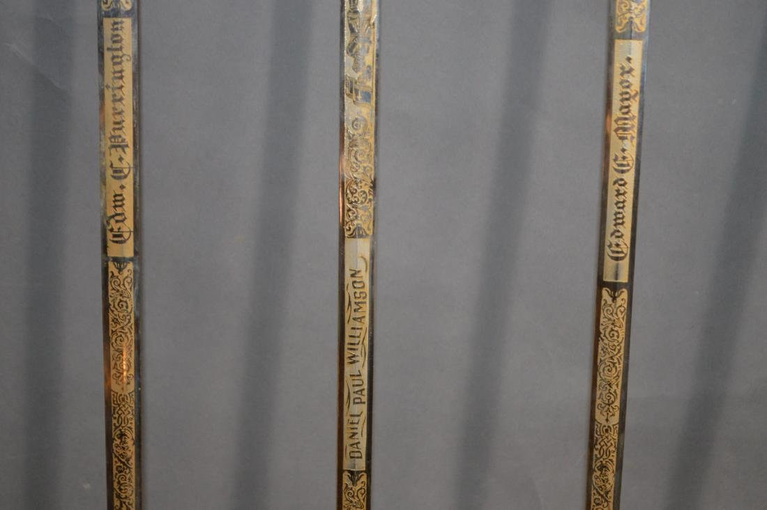 "5 CEREMONIAL MASONIC SWORDS. 38"" AND 35 1/2""L - 6"