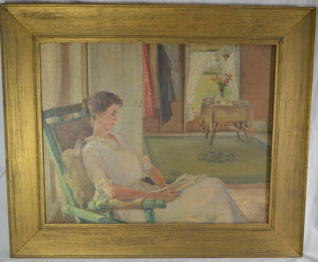 OIL PAINTING OF A WOMAN IN A PARLOR BY ELTON