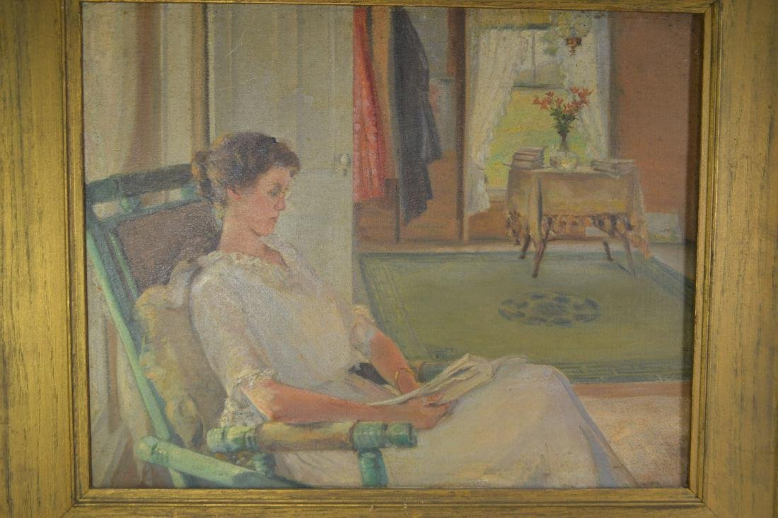 OIL PAINTING OF A WOMAN IN A PARLOR BY ELTON - 2