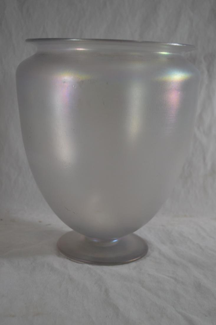 "11"" TALL LARGE RARE STEUBEN VERRE DE SOIE FOOTED VASE"