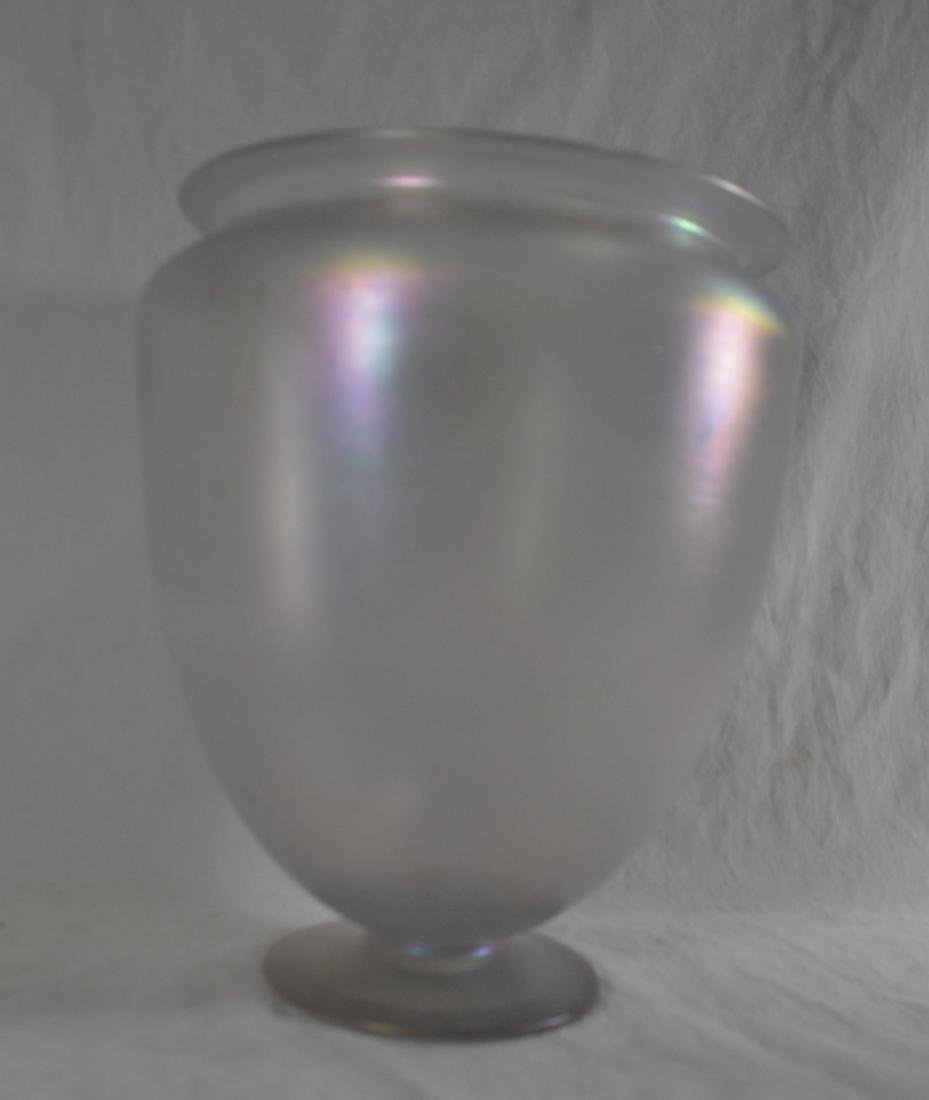 "11"" TALL LARGE RARE STEUBEN VERRE DE SOIE FOOTED VASE - 3"