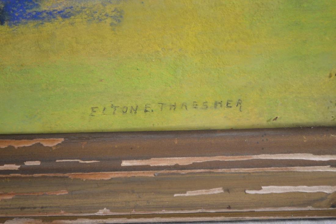 ILLUMINATED LANDSCAPEOF A LAKE SIGNED ELTON THRESHER. - 3