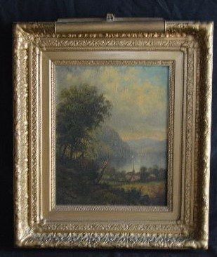 SIGNED OIL PAINTING LANDSCAPE PAINTING , 19TH  CENTURY