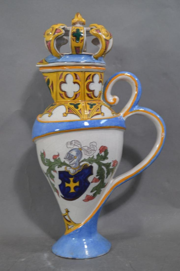 RARE ANTIQUE LARGE FRENCH GOTHIC FAIENCE FLAGON