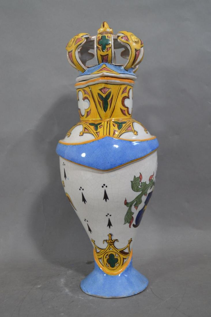 RARE ANTIQUE LARGE FRENCH GOTHIC FAIENCE FLAGON - 2