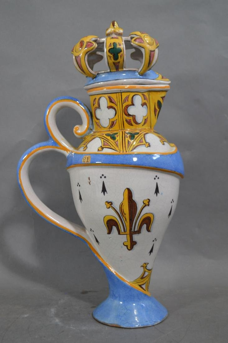 RARE ANTIQUE LARGE FRENCH GOTHIC FAIENCE FLAGON - 3