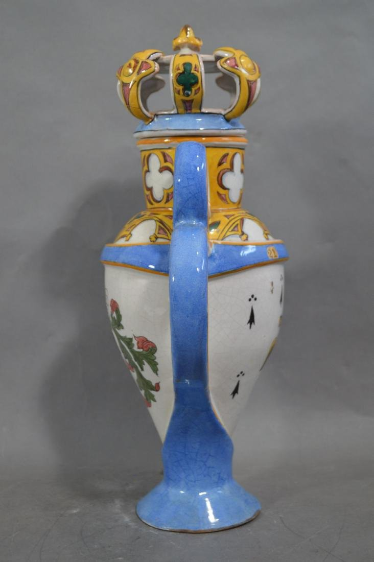 RARE ANTIQUE LARGE FRENCH GOTHIC FAIENCE FLAGON - 4