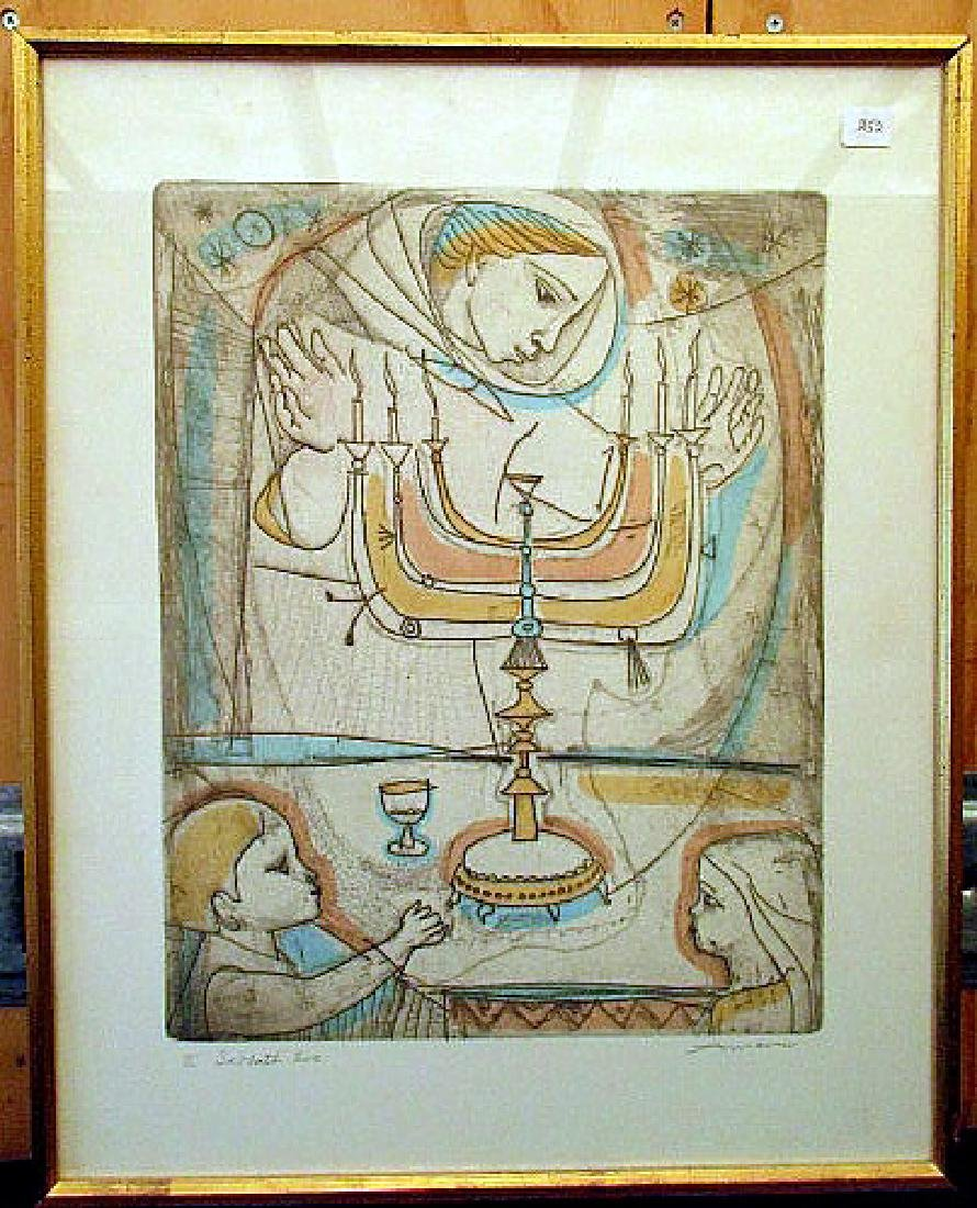 """SABBATH EVE"" PENCIL SIGNED PRINT  BY IRVING AMEN"