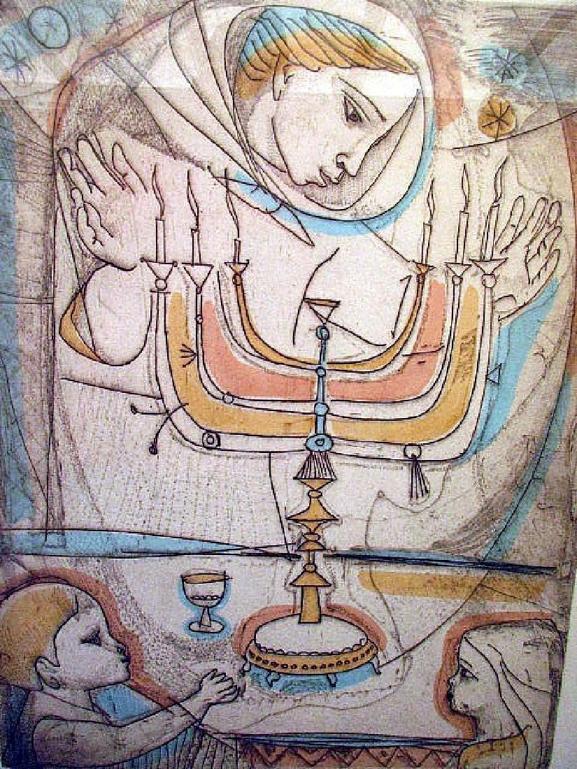 """SABBATH EVE"" PENCIL SIGNED PRINT  BY IRVING AMEN - 2"