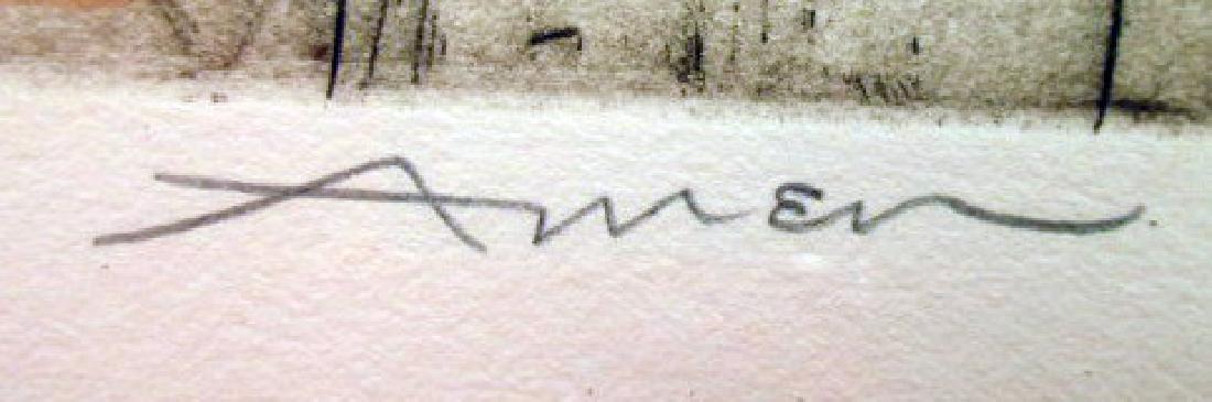 """SABBATH EVE"" PENCIL SIGNED PRINT  BY IRVING AMEN - 3"