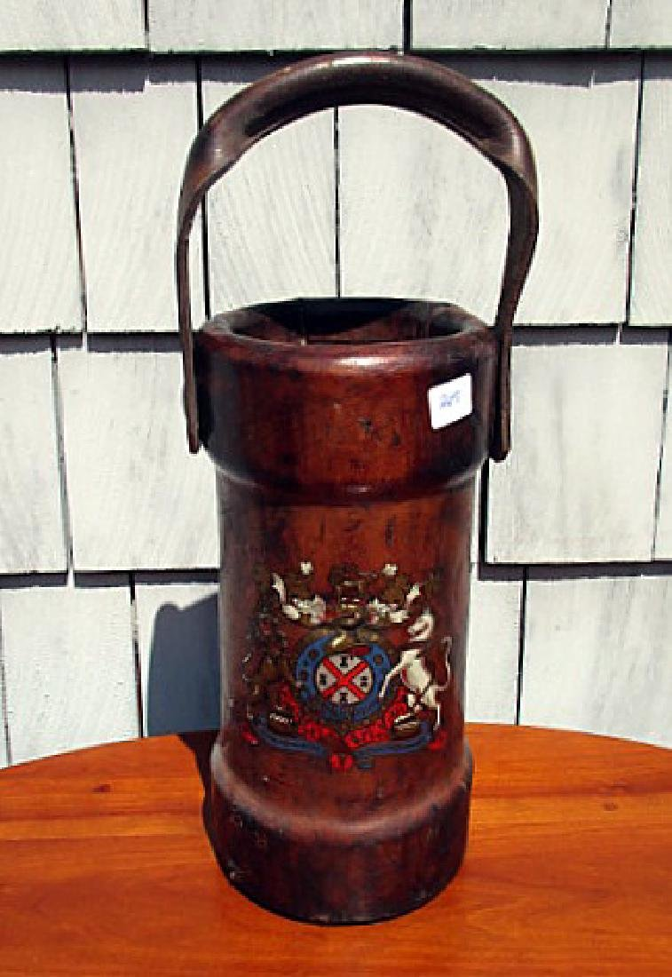"CONTINENTAL LEATHER ARMORIAL FIRE BUCKET 17""TALL"