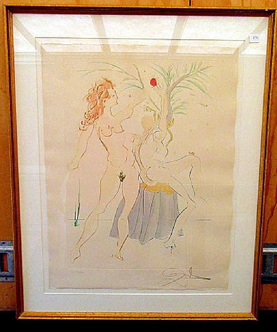 """ADAM & EVE""  98/300  SIGNED SALVADOR DALI PRINT 21""X27"