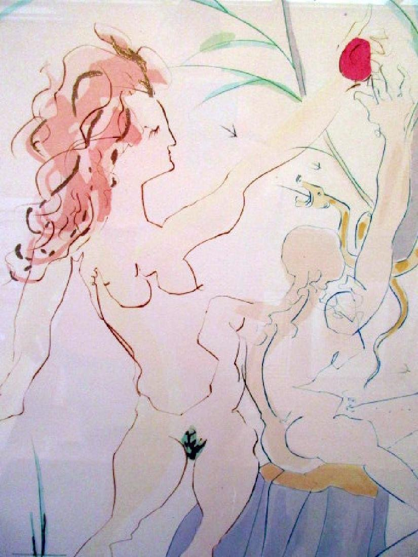 """ADAM & EVE""  98/300  SIGNED SALVADOR DALI PRINT 21""X27 - 2"