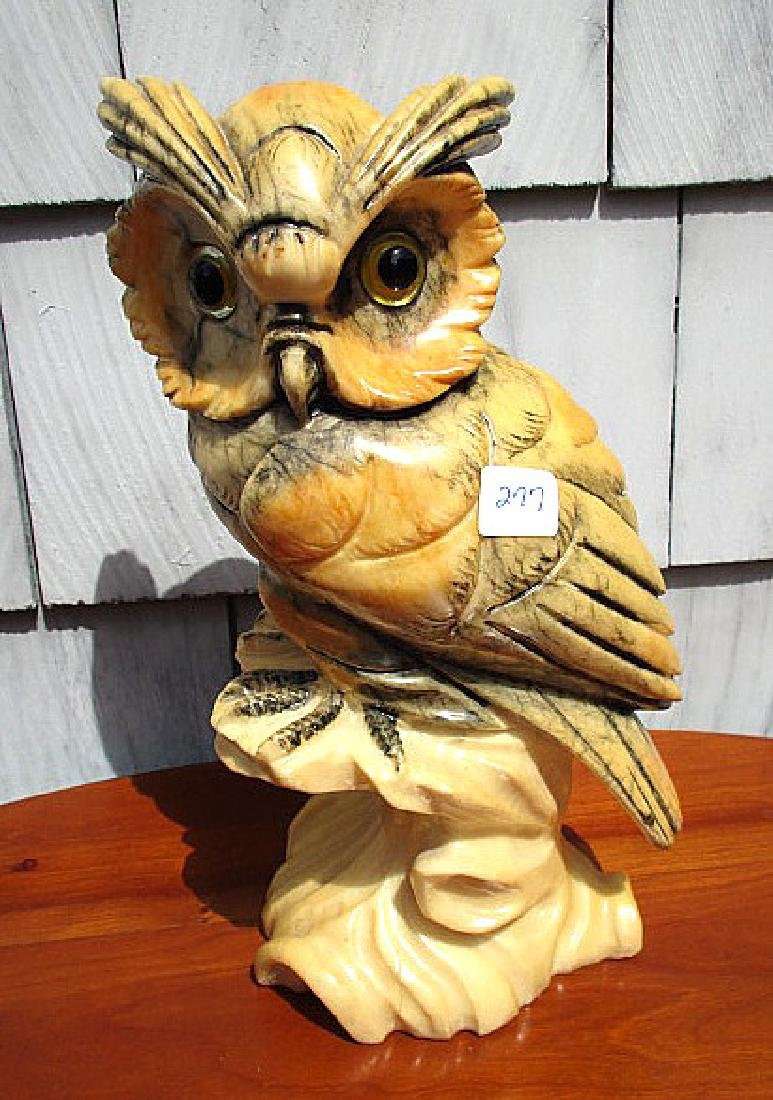 "12"" VINTAGE ITALIAN  CARVED ALABASTER OWL , GLASS EYES"