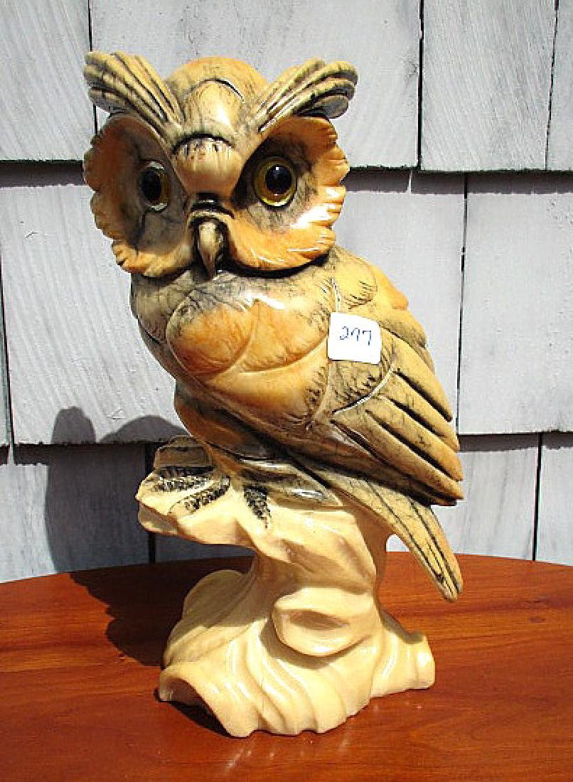 "12"" VINTAGE ITALIAN  CARVED ALABASTER OWL , GLASS EYES - 2"