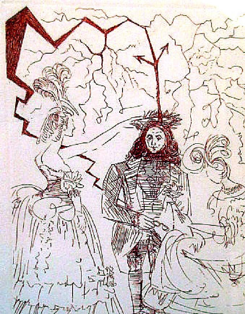 """""""WEDDING DAY"""" PENCIL SIGNED PRINT BY  SALVADOR DALI - 2"""