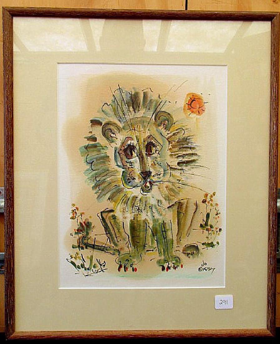 WATER COLOR OF A LION SIGNED BY ALFRED  BIRDSEY