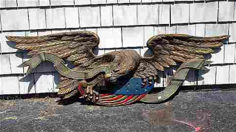 """71""""  ANTIQUE COLD PAINTED CAST IRON AMERICAN EAGLE"""
