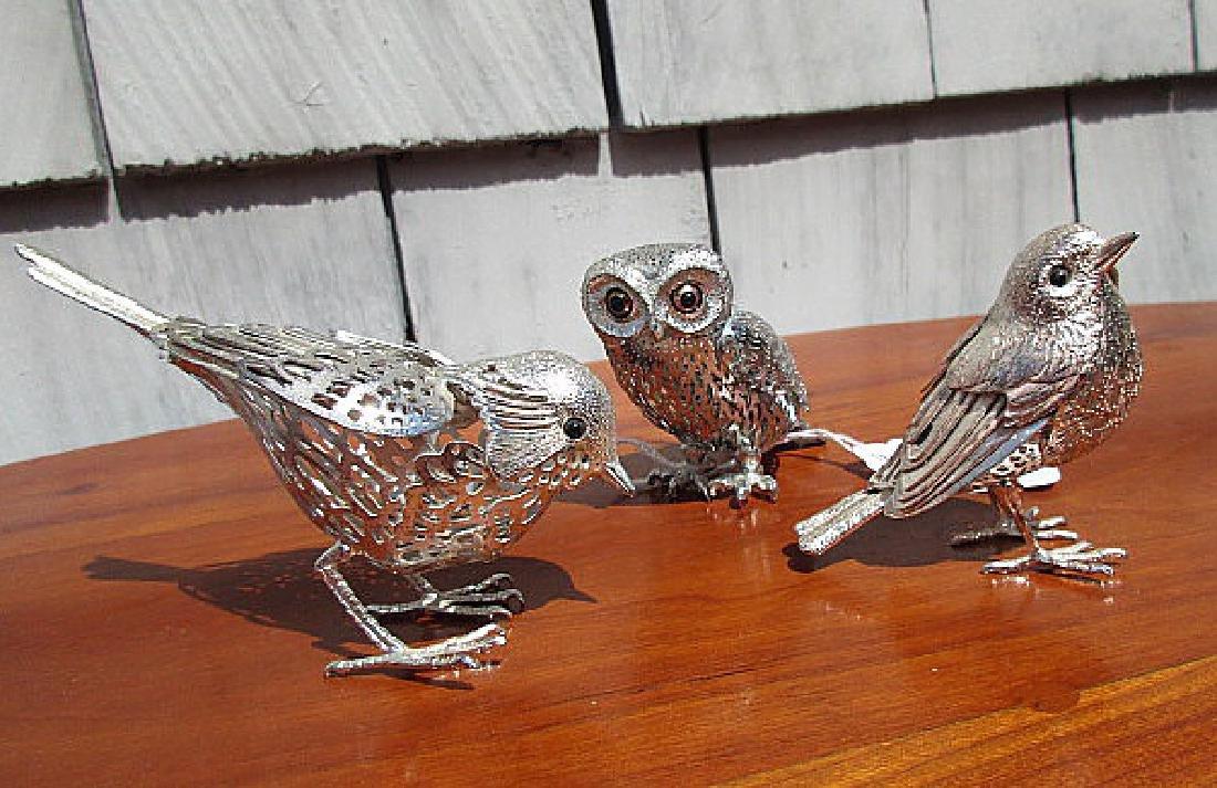 3 CHRISTOFLE SILVERPLATE  BIRDS