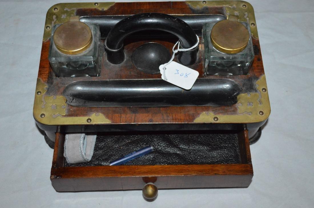 ROSEWOOD ENGLISH 1850 INKWELL SET - 3