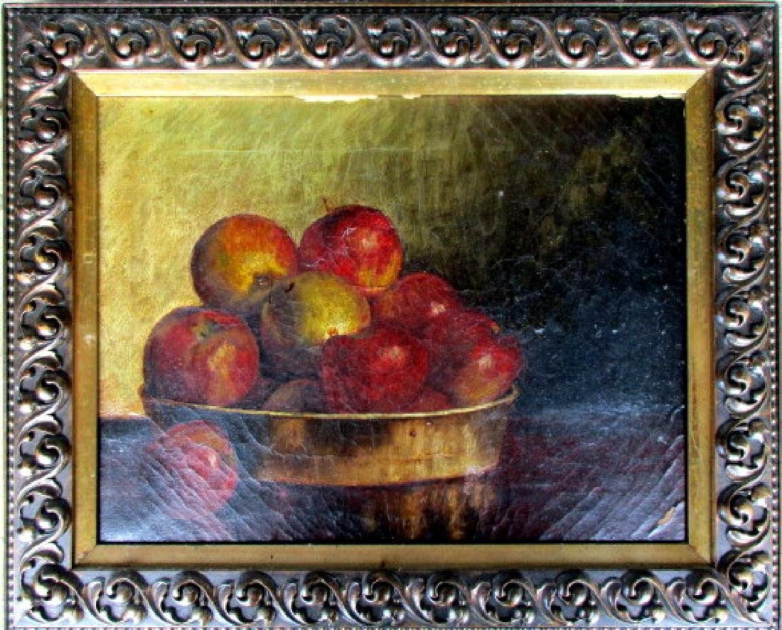 19th Century American Oil Painting on Canvas of Apples