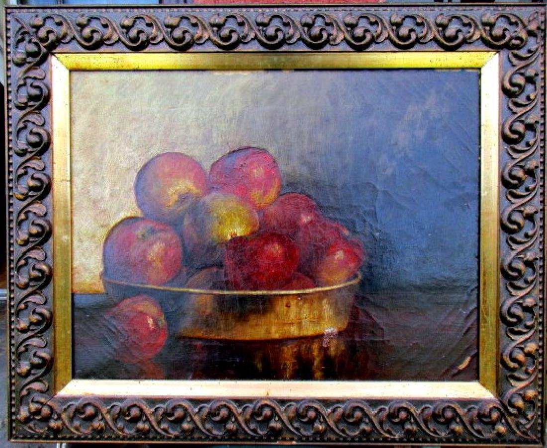 19th Century American Oil Painting on Canvas of Apples - 2