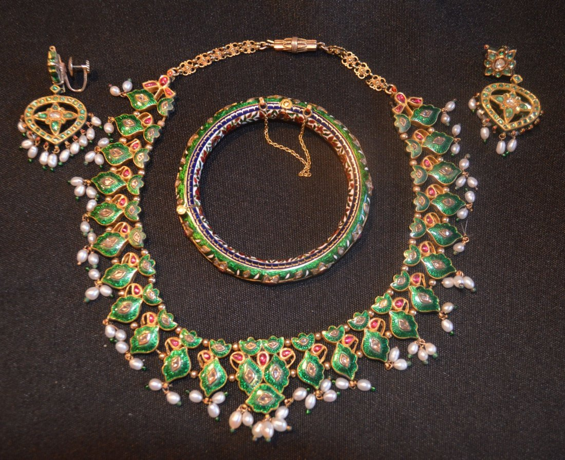GOLD AND ENAMEL MAHARANI NECKLACE  SET RUBIES, EMERALDS