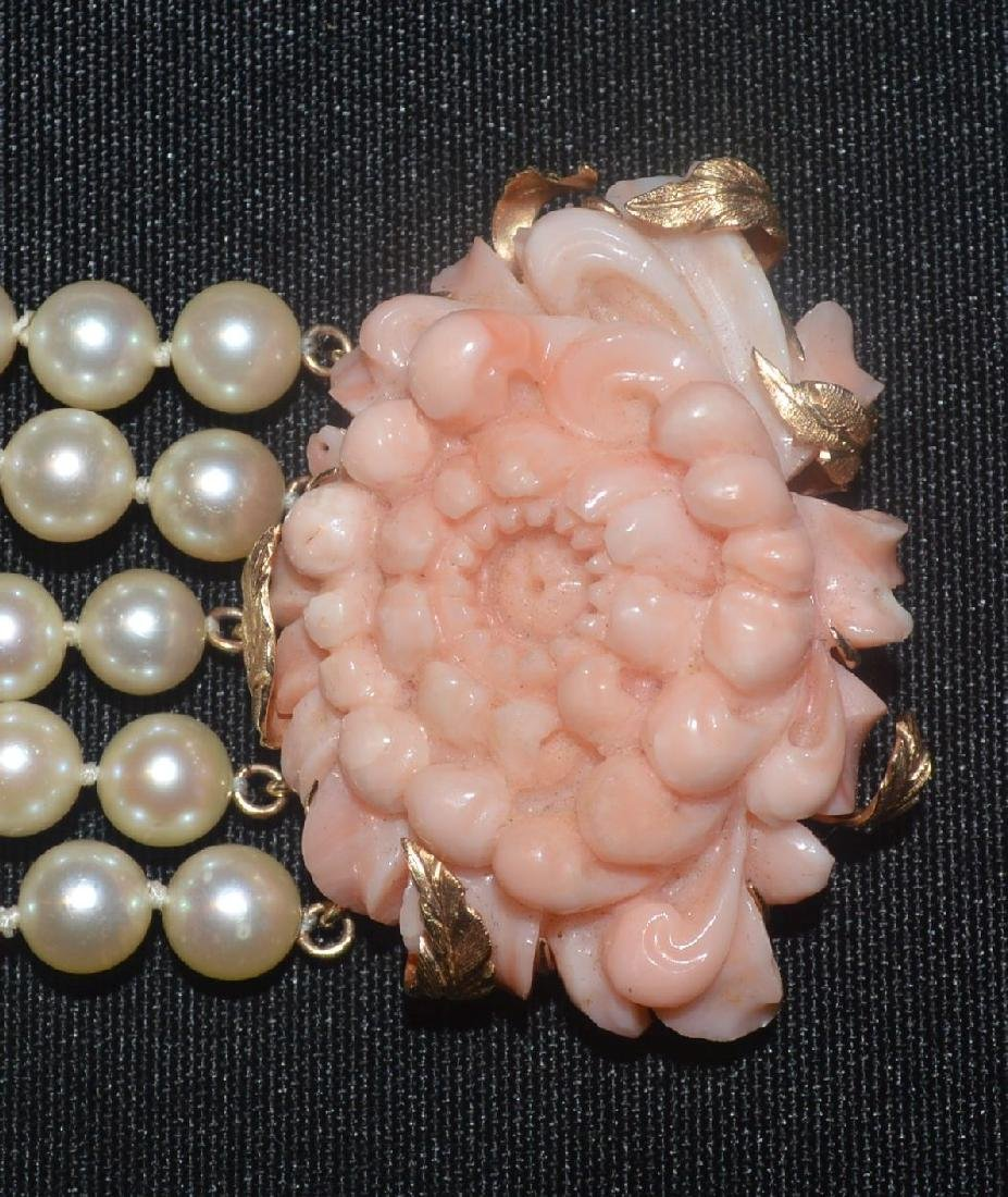 "14K GOLD PEARL BRACELET WITH 3""  CARVED CORAL FLOWER - 2"